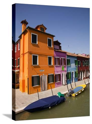 Colorful Houses and Boats on Canal-Dennis Walton-Stretched Canvas Print