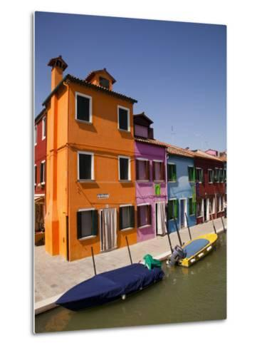 Colorful Houses and Boats on Canal-Dennis Walton-Metal Print