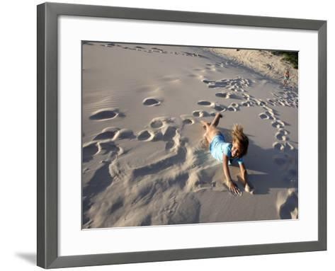 Young Girls Rolling Down Sand Dune-Cathy Finch-Framed Art Print
