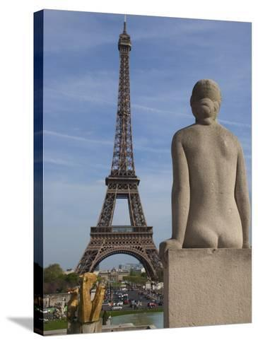 Statue on Trocadero and Eiffel Tower-Craig Pershouse-Stretched Canvas Print