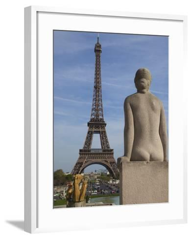 Statue on Trocadero and Eiffel Tower-Craig Pershouse-Framed Art Print