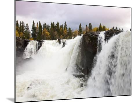 Waterfall and Forest in Autumn-Christer Fredriksson-Mounted Photographic Print