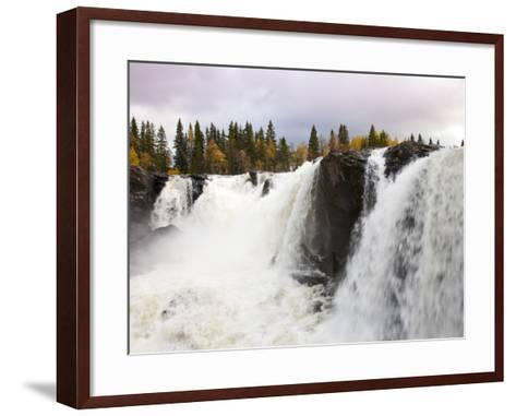 Waterfall and Forest in Autumn-Christer Fredriksson-Framed Art Print