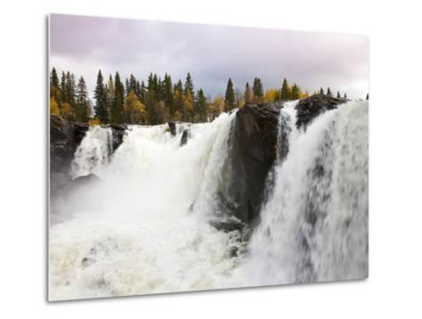 Waterfall and Forest in Autumn-Christer Fredriksson-Metal Print