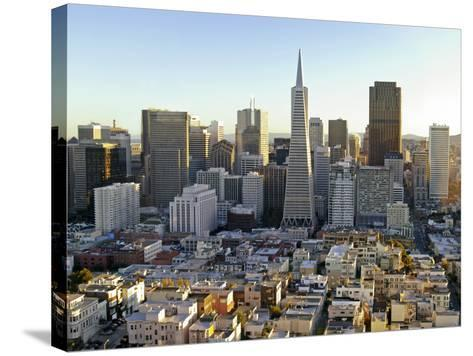 Transamerica Pyramid Building and Downtown from Top of Coit Tower-Emily Riddell-Stretched Canvas Print