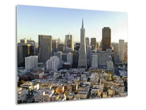 Transamerica Pyramid Building and Downtown from Top of Coit Tower-Emily Riddell-Metal Print