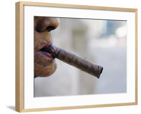Profile of Cuban Woman Smoking Cigar in Vieja District-Christian Aslund-Framed Art Print