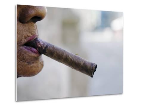 Profile of Cuban Woman Smoking Cigar in Vieja District-Christian Aslund-Metal Print