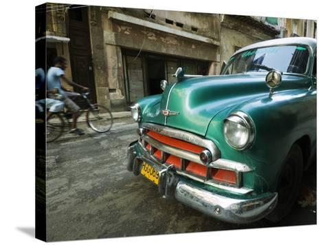 Vintage 1950's Car Parked on Street in Vedado District-Christian Aslund-Stretched Canvas Print