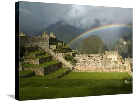 Rainbow over Incan Ruins of Machu Picchu-Emily Riddell-Stretched Canvas Print