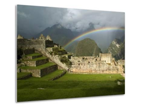 Rainbow over Incan Ruins of Machu Picchu-Emily Riddell-Metal Print