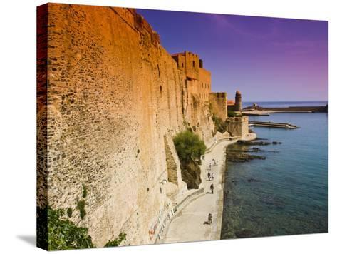 Chateau Royal and the Harbour at Collioure-Glenn Beanland-Stretched Canvas Print
