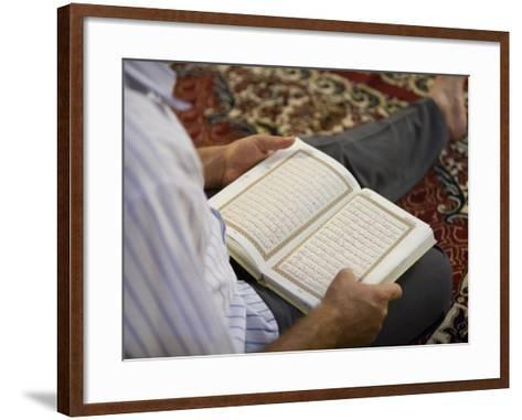 Man Reading Quran, Umayyad Mosque-Holger Leue-Framed Art Print