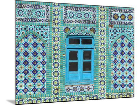 Intricate Tiling Round a Blue Window at the Shrine of Hazrat Ali-Jane Sweeney-Mounted Photographic Print