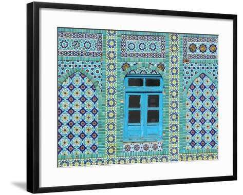 Intricate Tiling Round a Blue Window at the Shrine of Hazrat Ali-Jane Sweeney-Framed Art Print