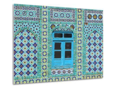 Intricate Tiling Round a Blue Window at the Shrine of Hazrat Ali-Jane Sweeney-Metal Print