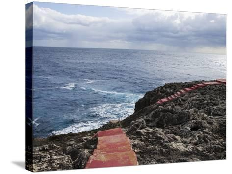 Red Stairs on Black Rocks-Holger Leue-Stretched Canvas Print