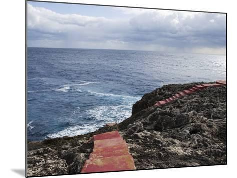 Red Stairs on Black Rocks-Holger Leue-Mounted Photographic Print