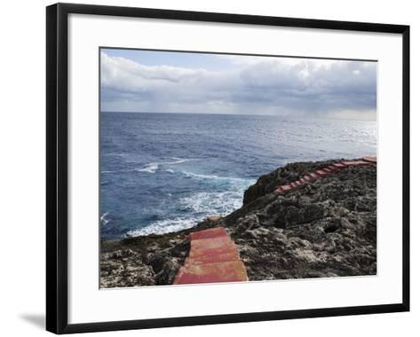 Red Stairs on Black Rocks-Holger Leue-Framed Art Print