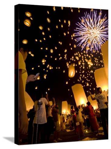 Lights, Lanterns and Mobile Phones at Loi Krathong Festival-Felix Hug-Stretched Canvas Print