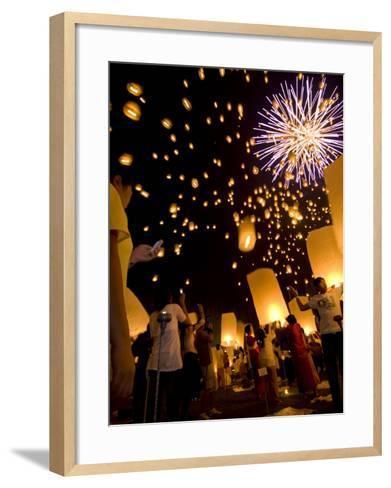 Lights, Lanterns and Mobile Phones at Loi Krathong Festival-Felix Hug-Framed Art Print