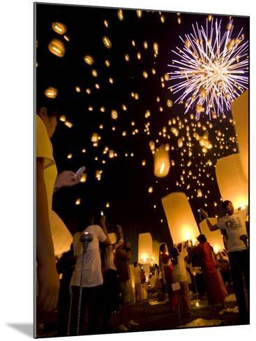 Lights, Lanterns and Mobile Phones at Loi Krathong Festival-Felix Hug-Mounted Photographic Print