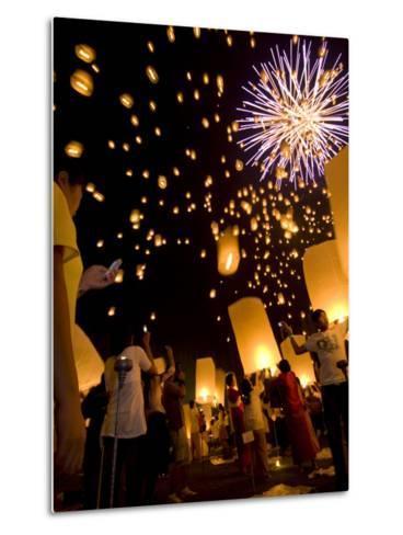 Lights, Lanterns and Mobile Phones at Loi Krathong Festival-Felix Hug-Metal Print