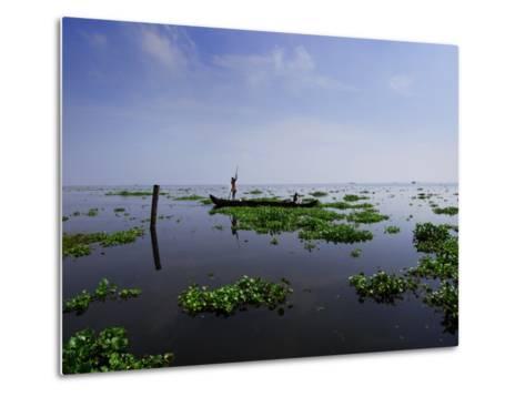 Canoe on Kerala's Backwaters-Felix Hug-Metal Print