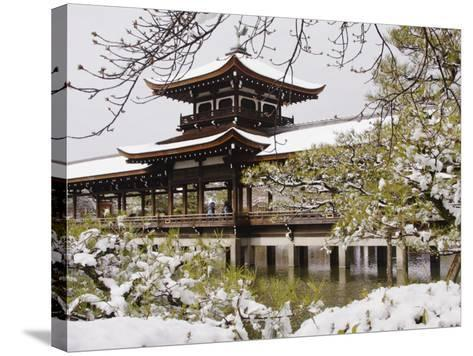 Snow Covered Chinese Style Bridge over Pond in Garden of Heian Shrine-Frank Carter-Stretched Canvas Print