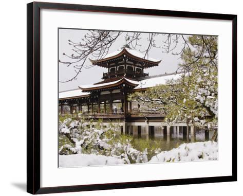 Snow Covered Chinese Style Bridge over Pond in Garden of Heian Shrine-Frank Carter-Framed Art Print