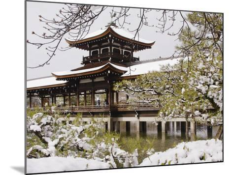 Snow Covered Chinese Style Bridge over Pond in Garden of Heian Shrine-Frank Carter-Mounted Photographic Print