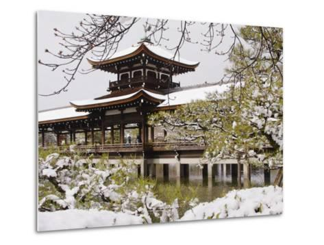 Snow Covered Chinese Style Bridge over Pond in Garden of Heian Shrine-Frank Carter-Metal Print