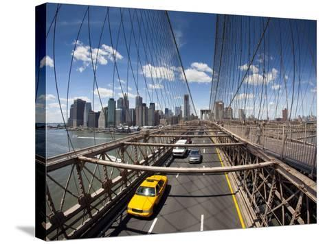 Brooklyn Bridge with South Manhattan in Background-Huw Jones-Stretched Canvas Print