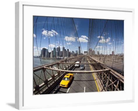 Brooklyn Bridge with South Manhattan in Background-Huw Jones-Framed Art Print