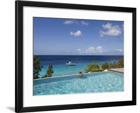 Swimmer in Infinity Pool at Habitat Curacao Dive Resort Near St. Willibrordus-Holger Leue-Framed Art Print