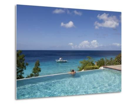 Swimmer in Infinity Pool at Habitat Curacao Dive Resort Near St. Willibrordus-Holger Leue-Metal Print