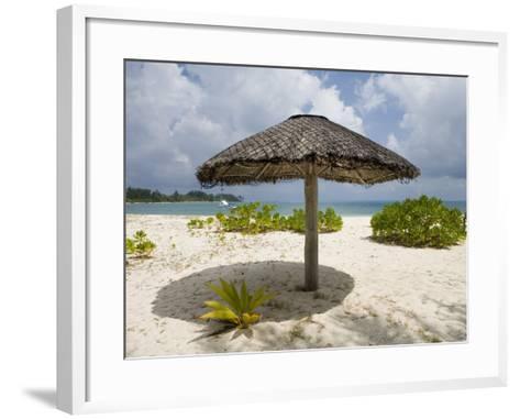 Sun Shade on Beach, Taj Denis Island Resort, Denis Island, Seychelle-Holger Leue-Framed Art Print
