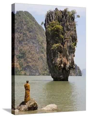 Thai Monk at Ko Phing Kan (James Bond Island)-Holger Leue-Stretched Canvas Print