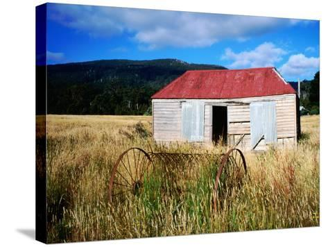Old Shed and Farm Equipment Near Cloudy Bay-Holger Leue-Stretched Canvas Print