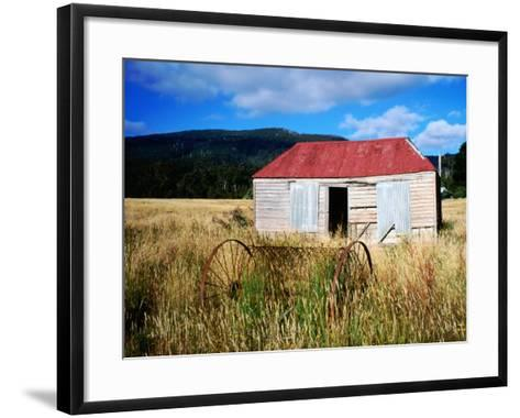 Old Shed and Farm Equipment Near Cloudy Bay-Holger Leue-Framed Art Print