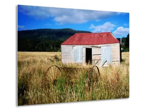 Old Shed and Farm Equipment Near Cloudy Bay-Holger Leue-Metal Print
