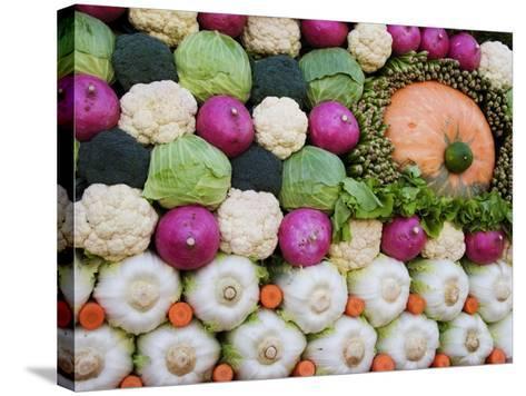 Vegetable Display at Yoyogi Park Agricultural Festival-Gerard Walker-Stretched Canvas Print