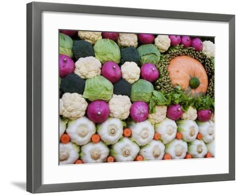 Vegetable Display at Yoyogi Park Agricultural Festival-Gerard Walker-Framed Art Print