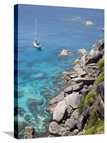 Sailboat and Snorkelers Near Granite Rocks-Holger Leue-Stretched Canvas Print