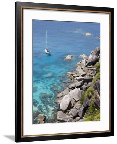 Sailboat and Snorkelers Near Granite Rocks-Holger Leue-Framed Art Print