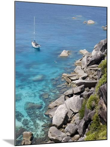 Sailboat and Snorkelers Near Granite Rocks-Holger Leue-Mounted Photographic Print