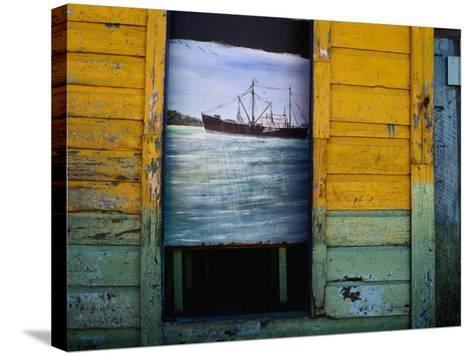 Painting on Screen at Entrance to Bar-Jeffrey Becom-Stretched Canvas Print