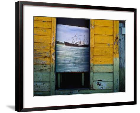 Painting on Screen at Entrance to Bar-Jeffrey Becom-Framed Art Print