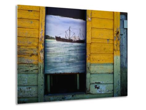 Painting on Screen at Entrance to Bar-Jeffrey Becom-Metal Print