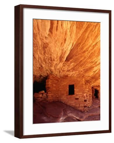 Ancestral Puebloan Cliff Dwellings at House on Fire Ruin in Mule Canyon, Cedar Mesa-Karl Lehmann-Framed Art Print